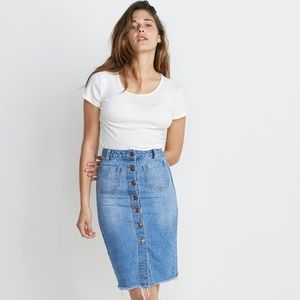 NWT Marine Layer Brooke Midi Denim Skirt